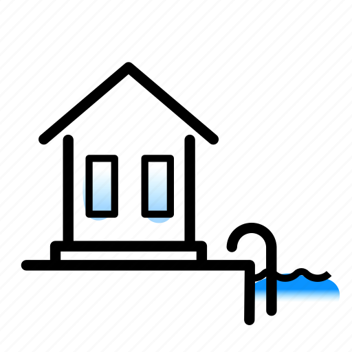accommodation, linebold, pool, poolvilla, villa, watercolor icon