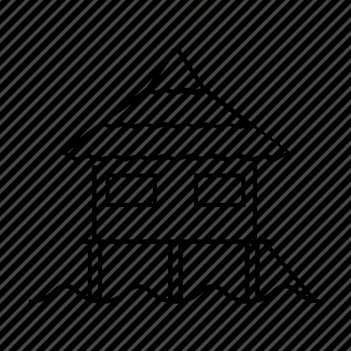 accommodation, bungalow, float house, line, waterhouse icon