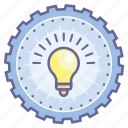 achievement, award, badge, bulb, gear, light icon