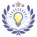 achievement, award, badge, bulb, light, wreath icon
