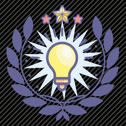 achievement, award, badge, bulb, light, wreath icon