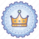 achievement, award, badge, crown, gear, king, wreath icon