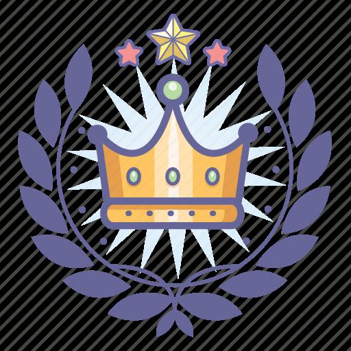 achievement, award, badge, crown, king, wreath icon