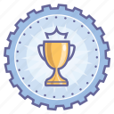 achievement, award, badge, cup, gear, winner icon