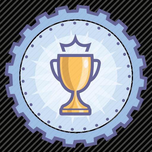 achievement, award, badge, cup, gear, winner icon