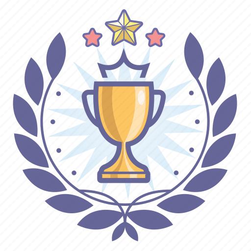 achievement, award, badge, cup, winner, wreath icon