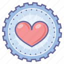 achievement, award, badge, gear, heart, love icon