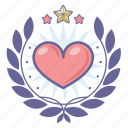 achievement, award, badge, heart, love, wreath icon