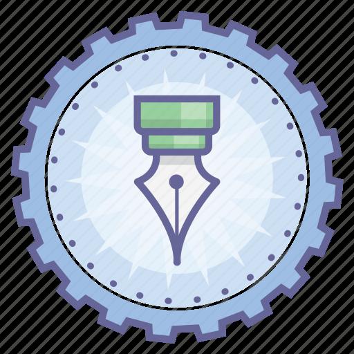 achievement, award, badge, gear, pen, wreath, writer icon