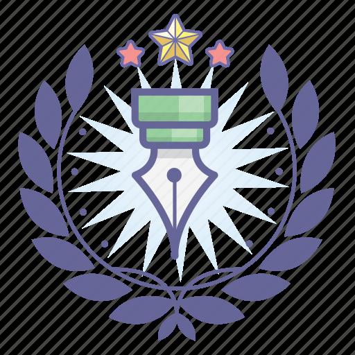achievement, award, badge, pen, wreath, writer icon