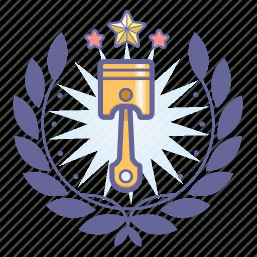 achievement, award, badge, engine, piston, wreath icon