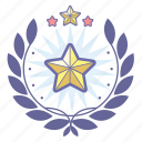 achievement, award, badge, favorite, rating, star, wreath icon