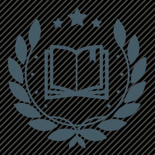 achievement, award, badge, book, education, knowledge, wreath icon