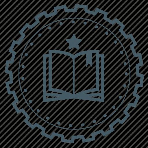 achievement, award, badge, book, education, gear, knowledge icon