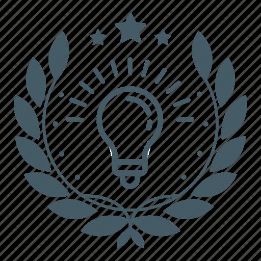 achievement, award, badge, bulb, idea, light, wreath icon