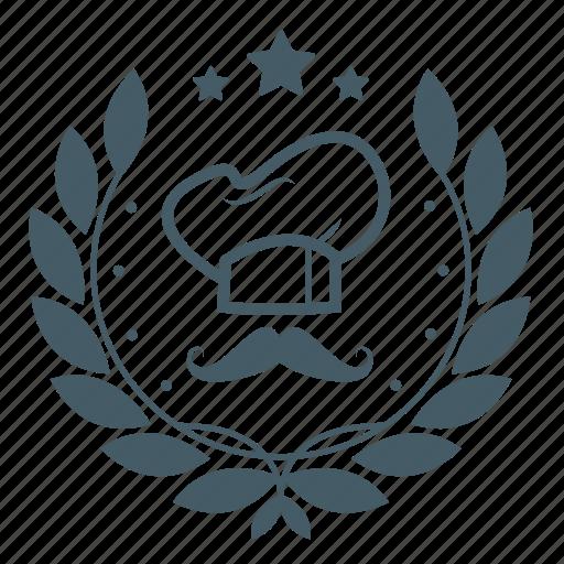 achievement, badge, chef, chef hat, moustache, wreath icon