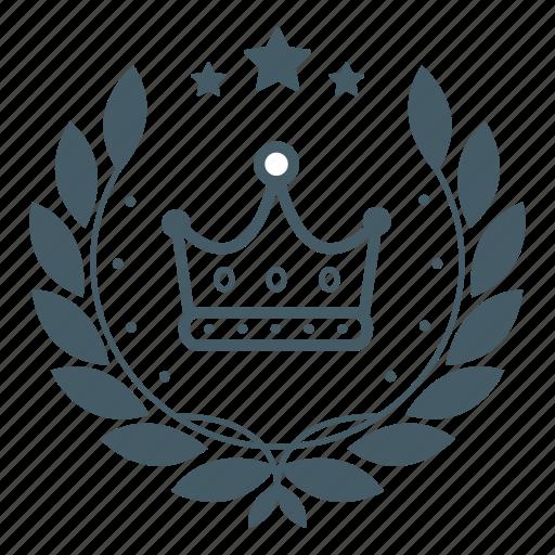 achievement, award, badge, crown, king, royal, wreath icon