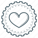 achievement, award, badge, gear, heart, love, valentine icon
