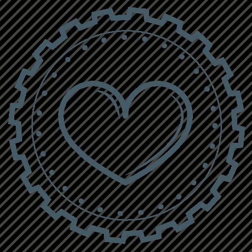 achievement, award, badge, gear, heart, love, valentine icon