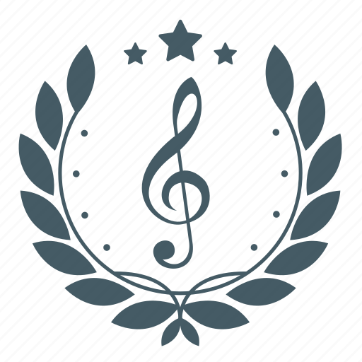 achievement, badge, music, music note, musical, note, wreath icon
