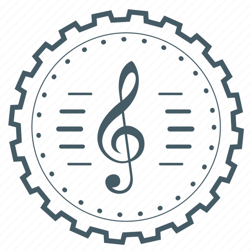 achievement, badge, gear, music, music symbol, musical, note icon