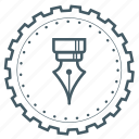 gear, award, creative, pen, design, badge, achievement