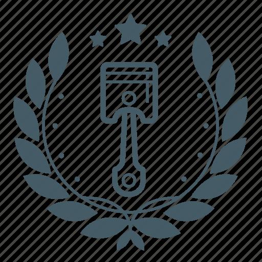 achivement, automobile, badge, cars, engine, piston, wreath icon