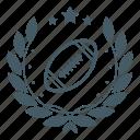ball, rugby, champion, wreath, sport, badge, achievement
