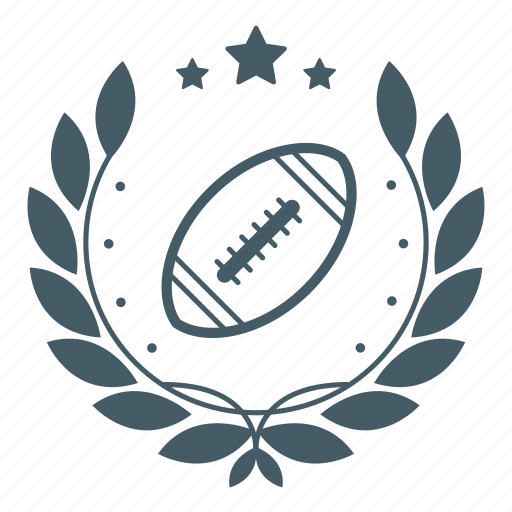 achievement, badge, ball, champion, rugby, sport, wreath icon