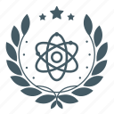 achievement, atom, badge, physics, science, star, wreath icon