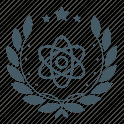 achievement, atom, badge, physics, science, star, wreath icon