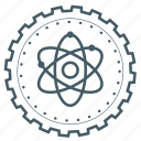 achievement, atom, award, badge, gear, physics, science icon