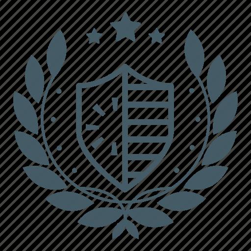 achievement, award, badge, protection, security, sheild, wreath icon