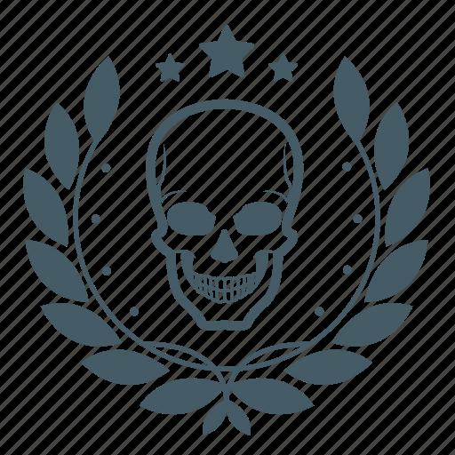 achievement, award, badge, halloween, head, skull, wreath icon