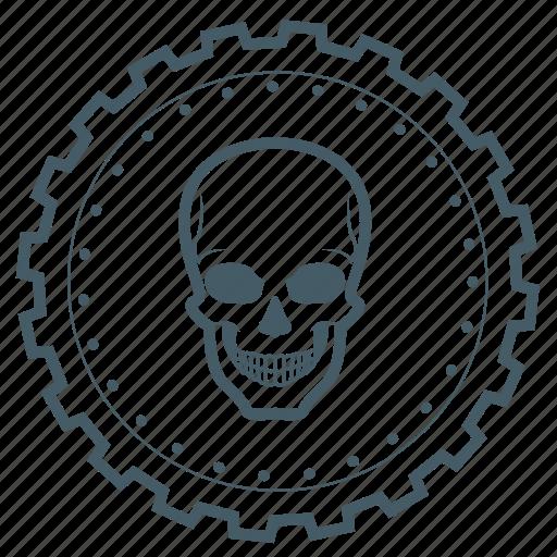 achievement, award, badge, gear, halloween, head, skull icon