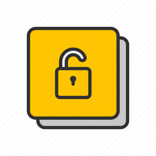 lock, padlock, security, square icon