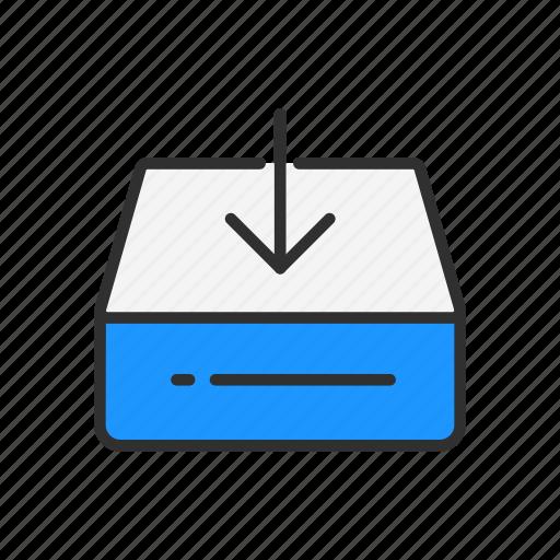 disk, download file, hard drive, storage icon