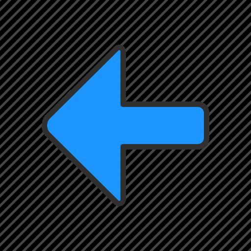 arrow, back, playback, pointer icon