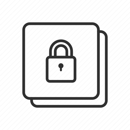 file locked, padlock, security, square icon