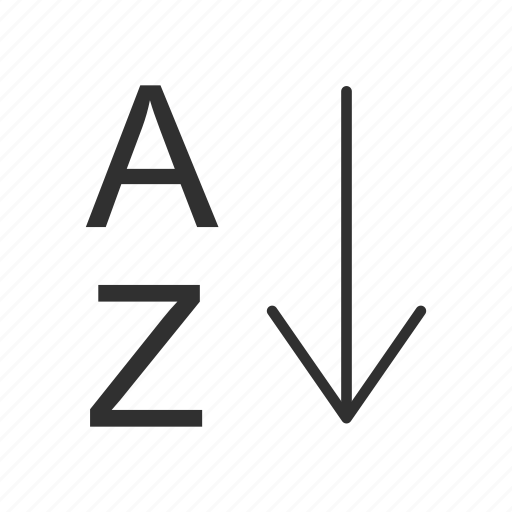 alphabet, arrange tool, arrow, letters icon