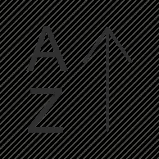alphabet, arrange tool, ascending, letter icon