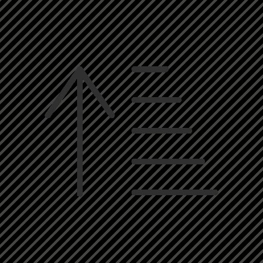 arrange bar, arrow, ascending, line icon
