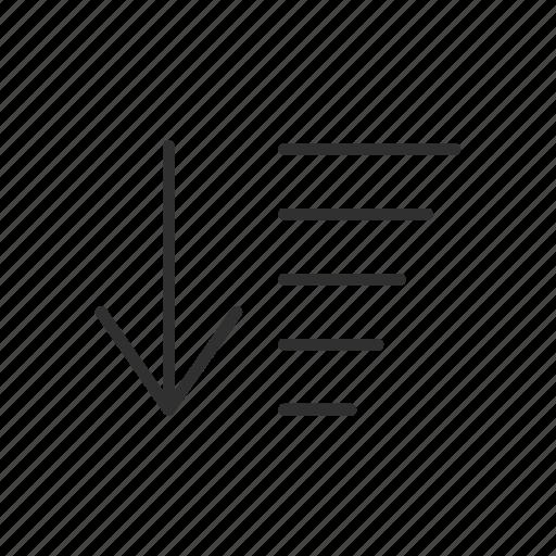 bar graph, descending, lines, shapes icon