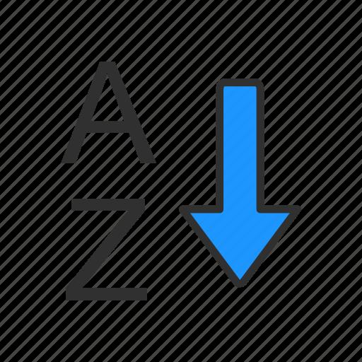 alphabet, arrow down, ascending, letters icon