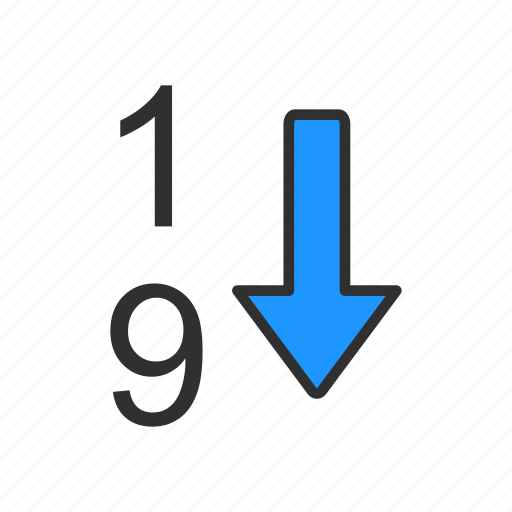descending number, number, one, rate icon