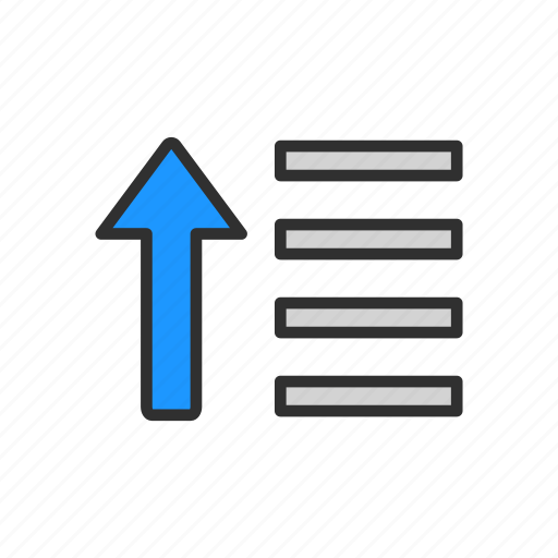 ascending tool, lines, shape, text icon