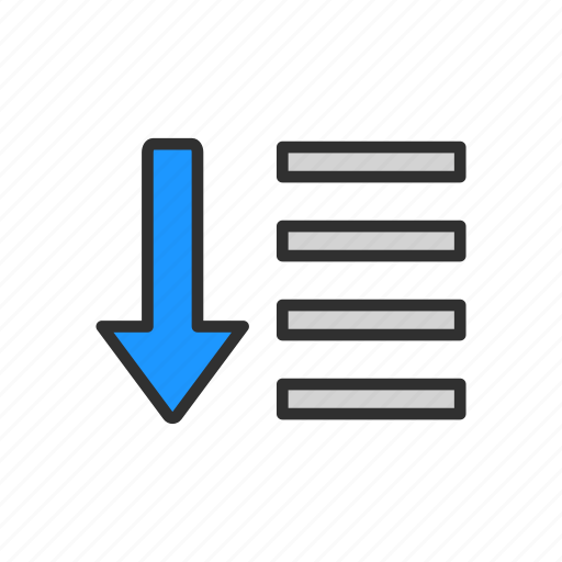 arrow down, descending tool, menu bar, text icon