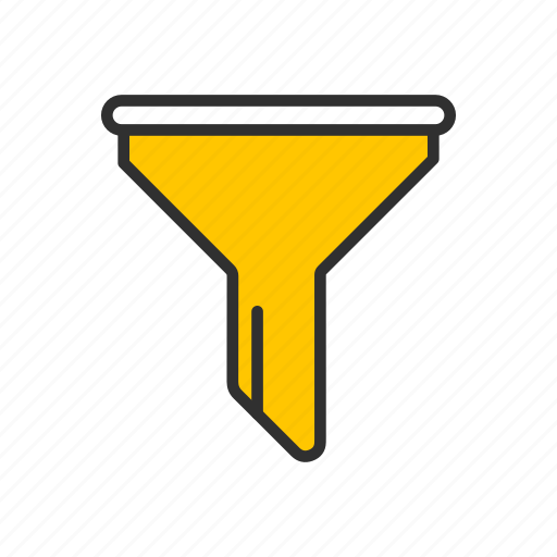 filter, funnel, liquid filter, tube, yellow funnel icon