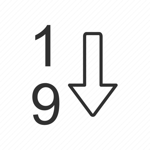 arrow, descending, letter, number icon