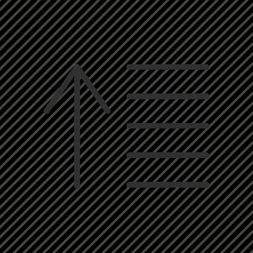 arrow, line bar, settings, text icon